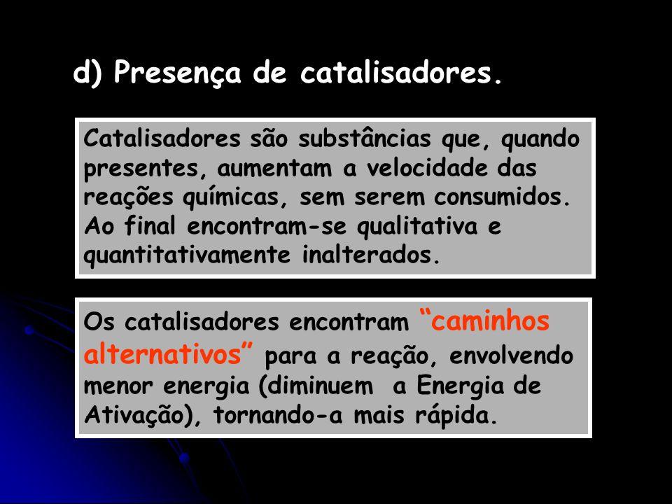 d) Presença de catalisadores.