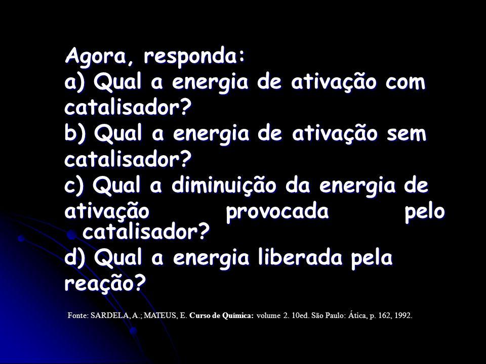 a) Qual a energia de ativação com catalisador