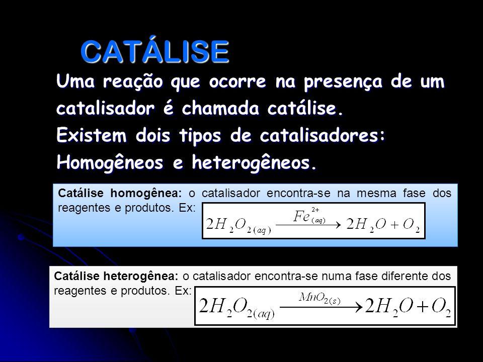 CATÁLISE Uma reação que ocorre na presença de um catalisador é chamada catálise. Existem dois tipos de catalisadores: Homogêneos e heterogêneos.