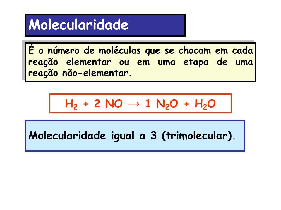 Molecularidade H2 + 2 NO → 1 N2O + H2O