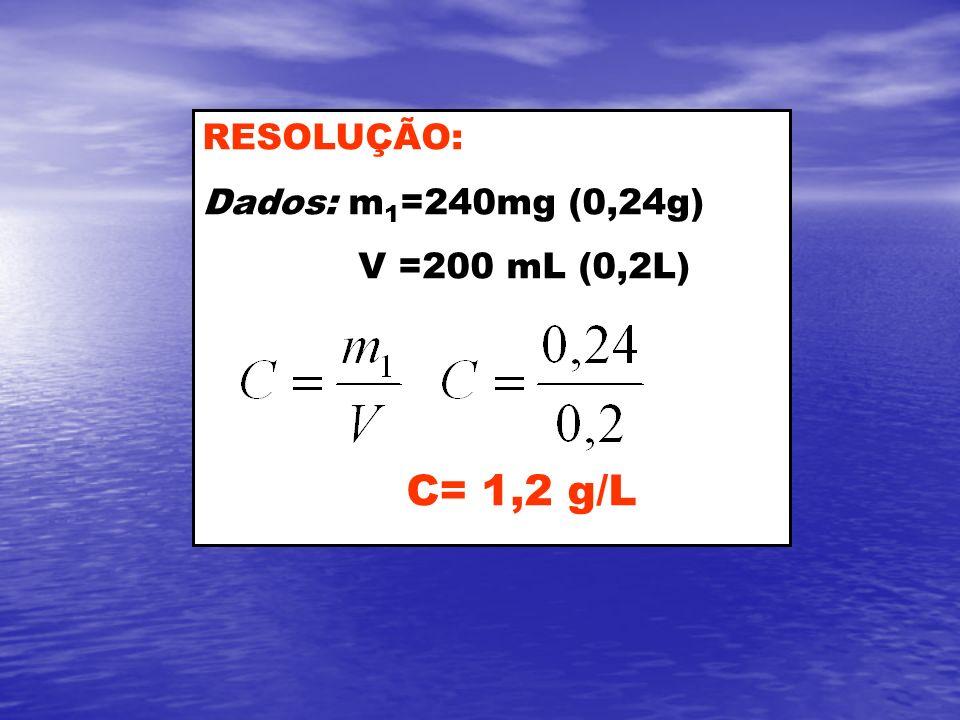 RESOLUÇÃO: Dados: m1=240mg (0,24g) V =200 mL (0,2L) C= 1,2 g/L