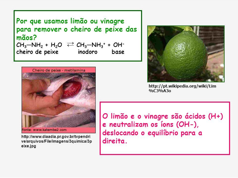Por que usamos limão ou vinagre para remover o cheiro de peixe das mãos CH3―NH2 + H2O CH3―NH3+ + OH- cheiro de peixe inodoro base