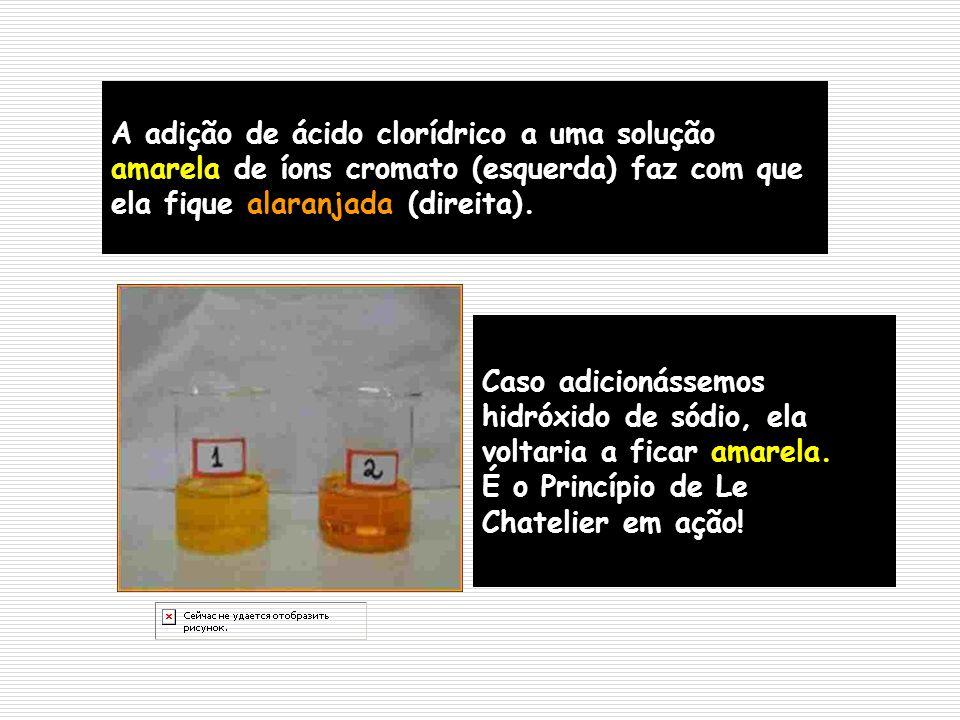 A adição de ácido clorídrico a uma solução amarela de íons cromato (esquerda) faz com que ela fique alaranjada (direita).