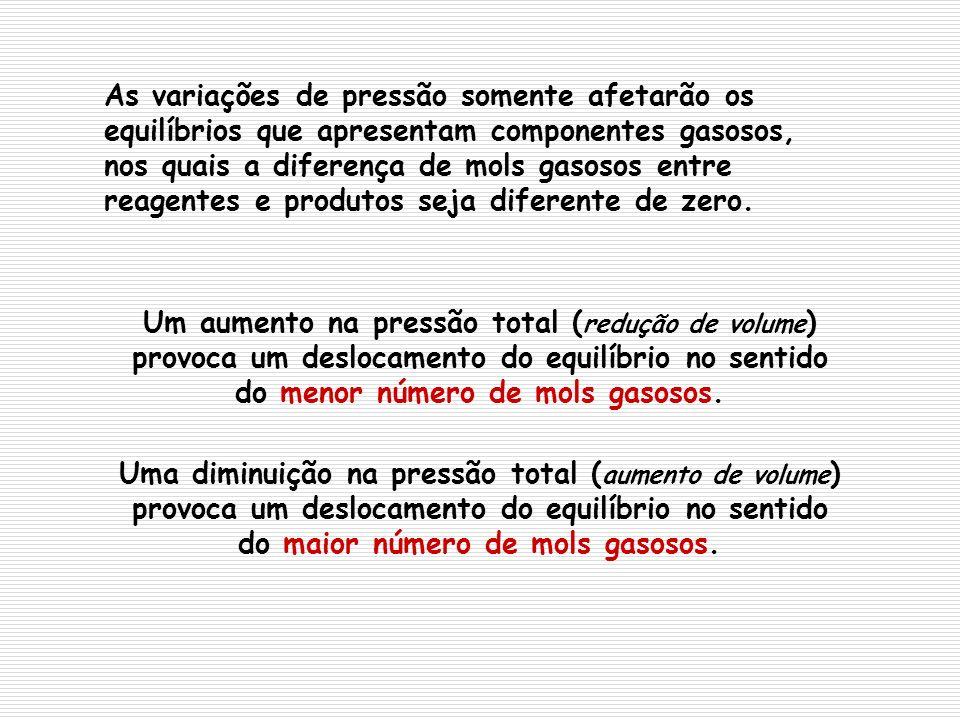 As variações de pressão somente afetarão os equilíbrios que apresentam componentes gasosos, nos quais a diferença de mols gasosos entre reagentes e produtos seja diferente de zero.