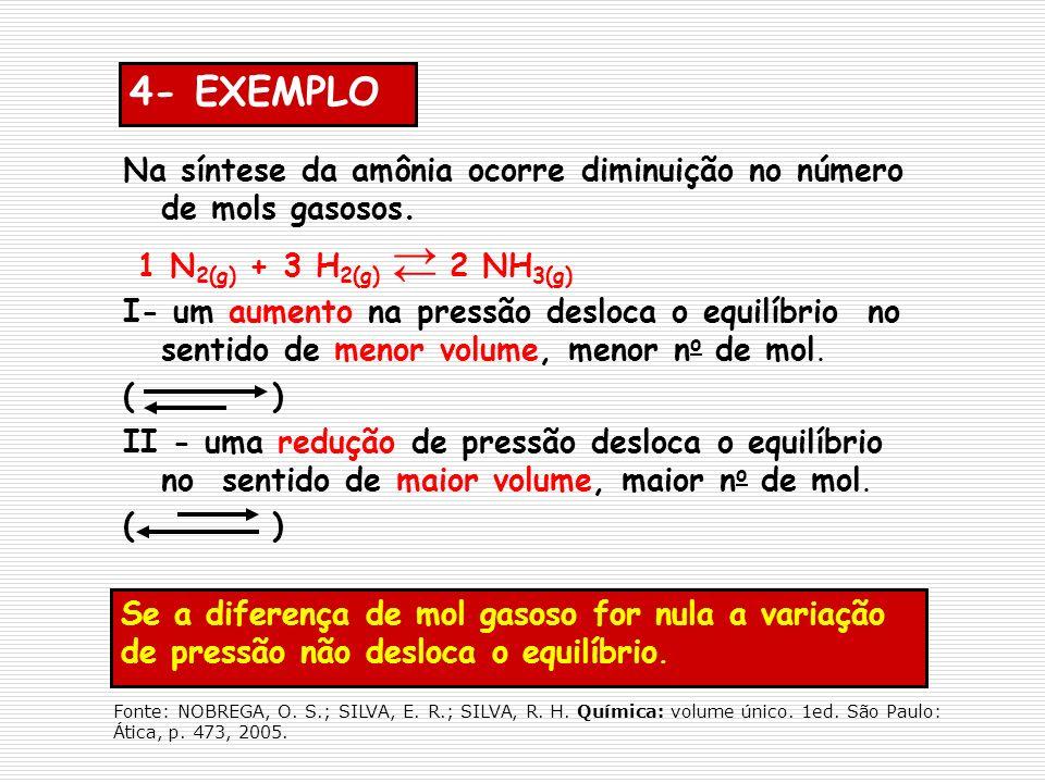 4- EXEMPLO Na síntese da amônia ocorre diminuição no número de mols gasosos. 1 N2(g) + 3 H2(g) 2 NH3(g)