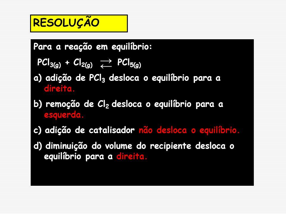 → ← RESOLUÇÃO Para a reação em equilíbrio: PCl3(g) + Cl2(g) PCl5(g)