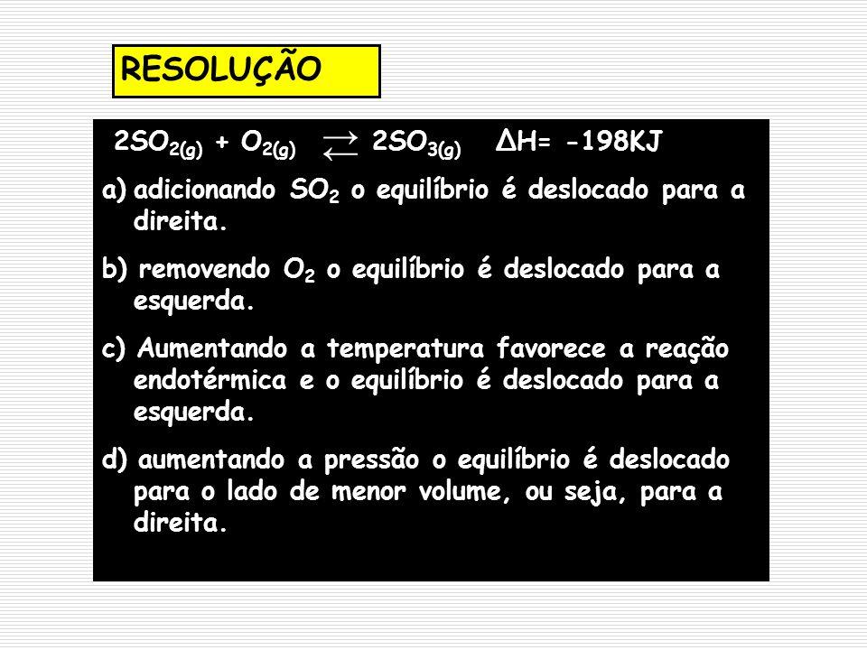 → ← RESOLUÇÃO 2SO2(g) + O2(g) 2SO3(g) ΔH= -198KJ