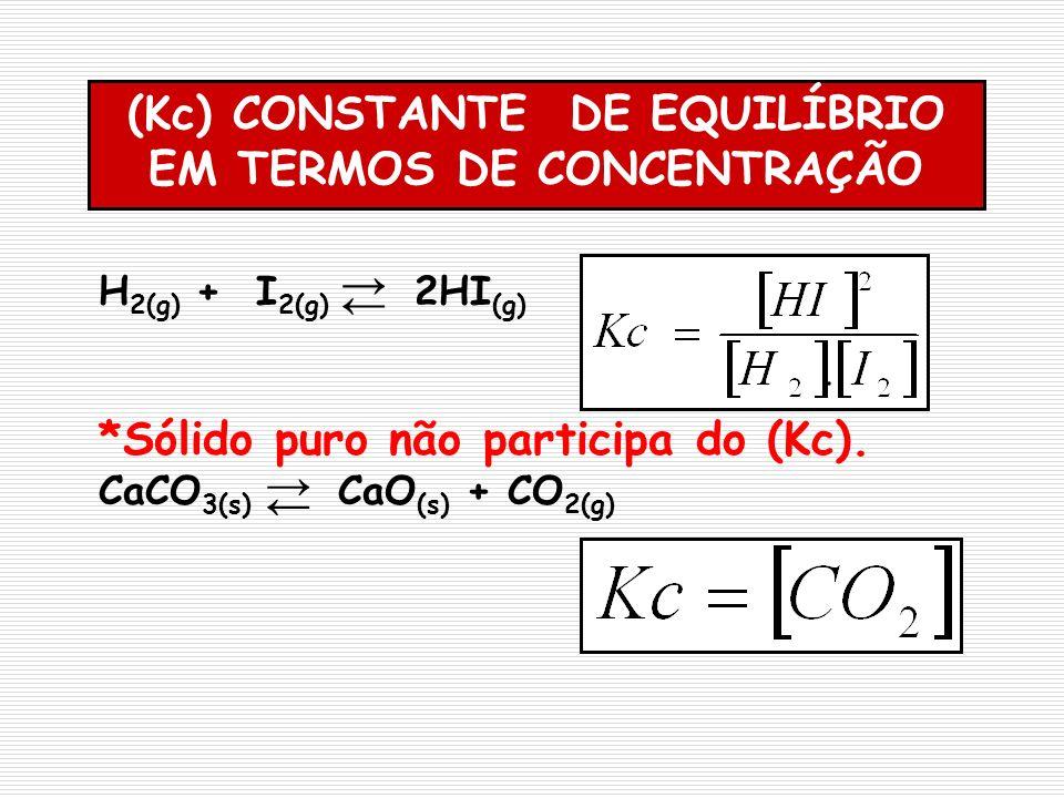 (Kc) CONSTANTE DE EQUILÍBRIO EM TERMOS DE CONCENTRAÇÃO