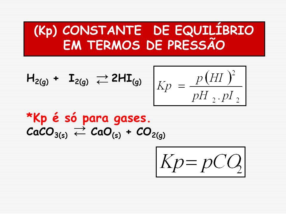 (Kp) CONSTANTE DE EQUILÍBRIO EM TERMOS DE PRESSÃO