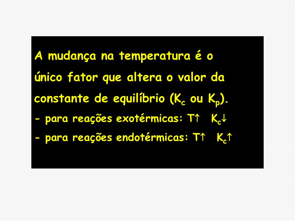 A mudança na temperatura é o único fator que altera o valor da