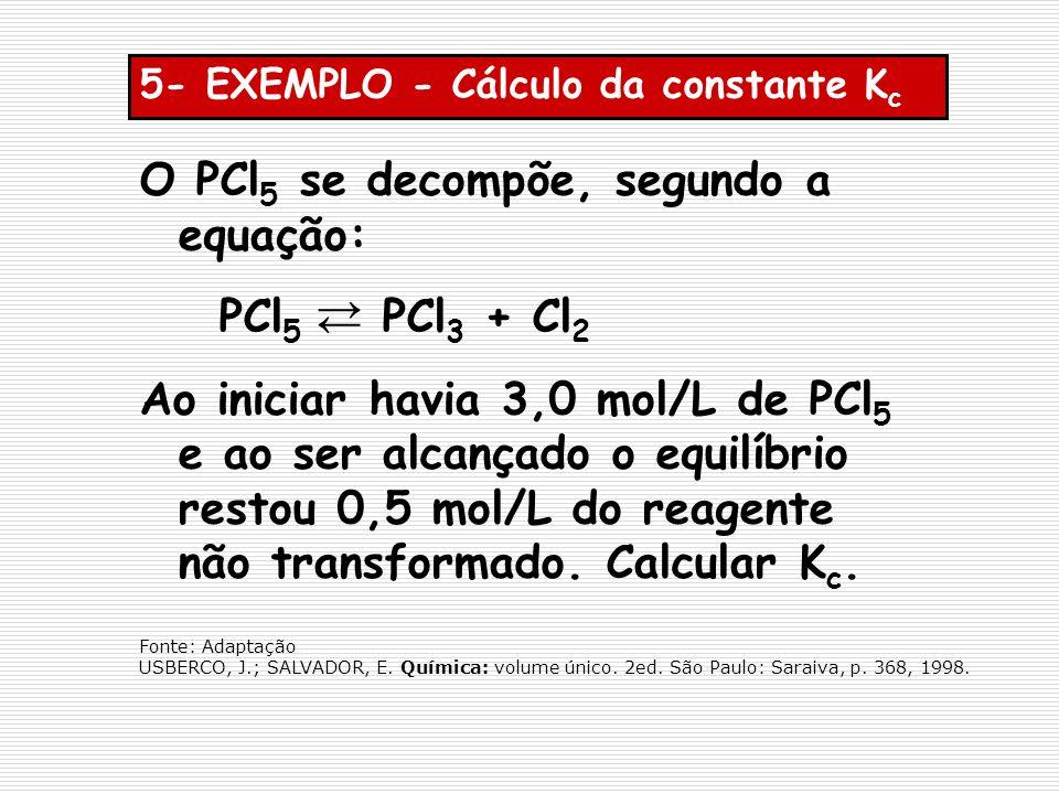 O PCl5 se decompõe, segundo a equação: PCl5 PCl3 + Cl2