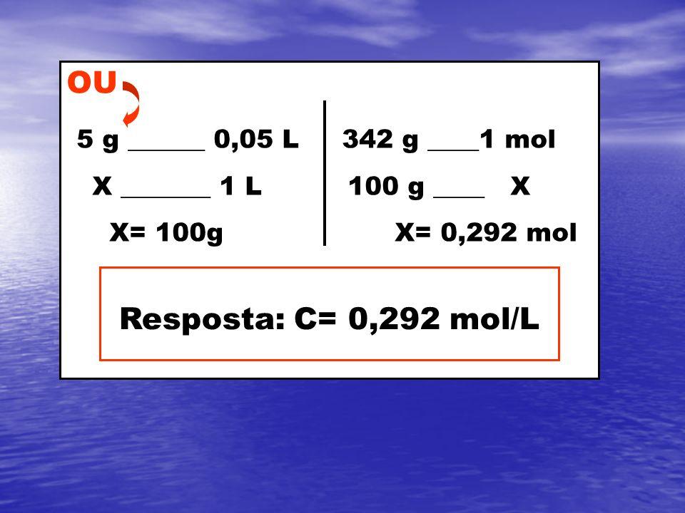 OU 5 g ______ 0,05 L 342 g ____1 mol Resposta: C= 0,292 mol/L