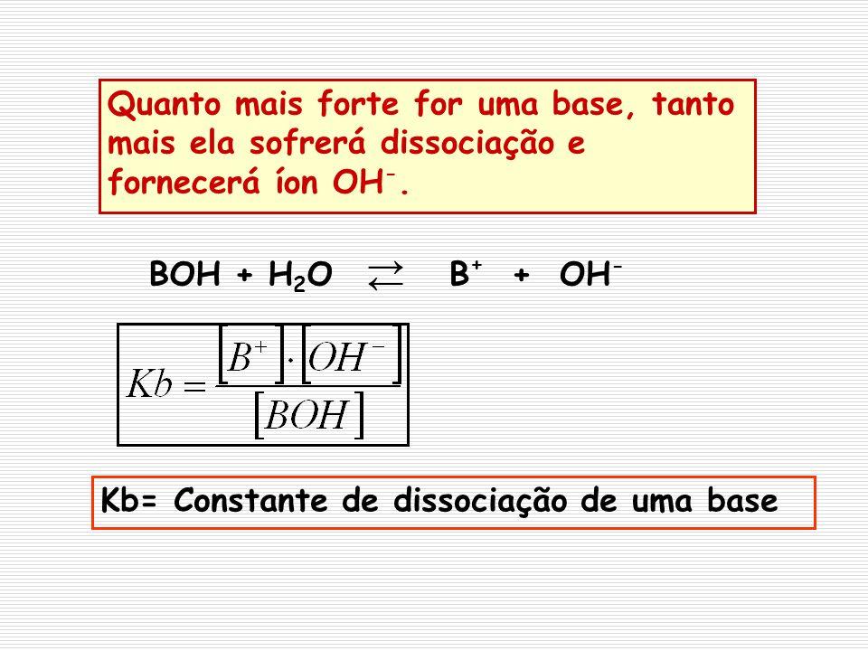 Quanto mais forte for uma base, tanto mais ela sofrerá dissociação e fornecerá íon OH-.