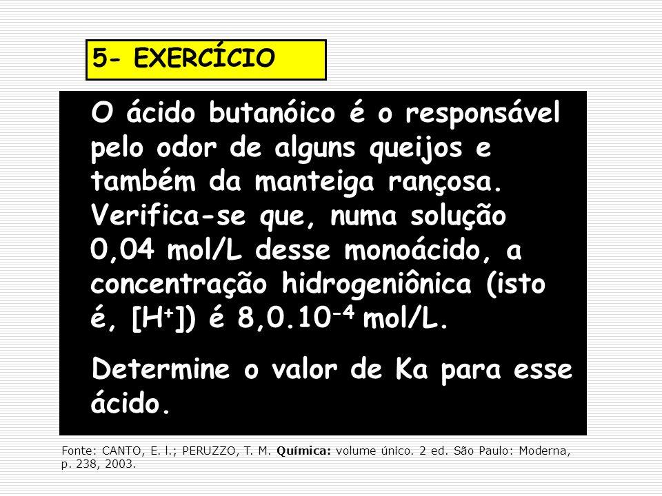 Determine o valor de Ka para esse ácido.