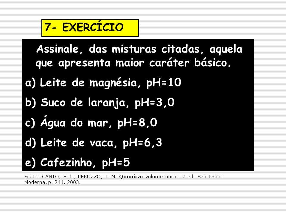 7- EXERCÍCIO Assinale, das misturas citadas, aquela que apresenta maior caráter básico. a) Leite de magnésia, pH=10.
