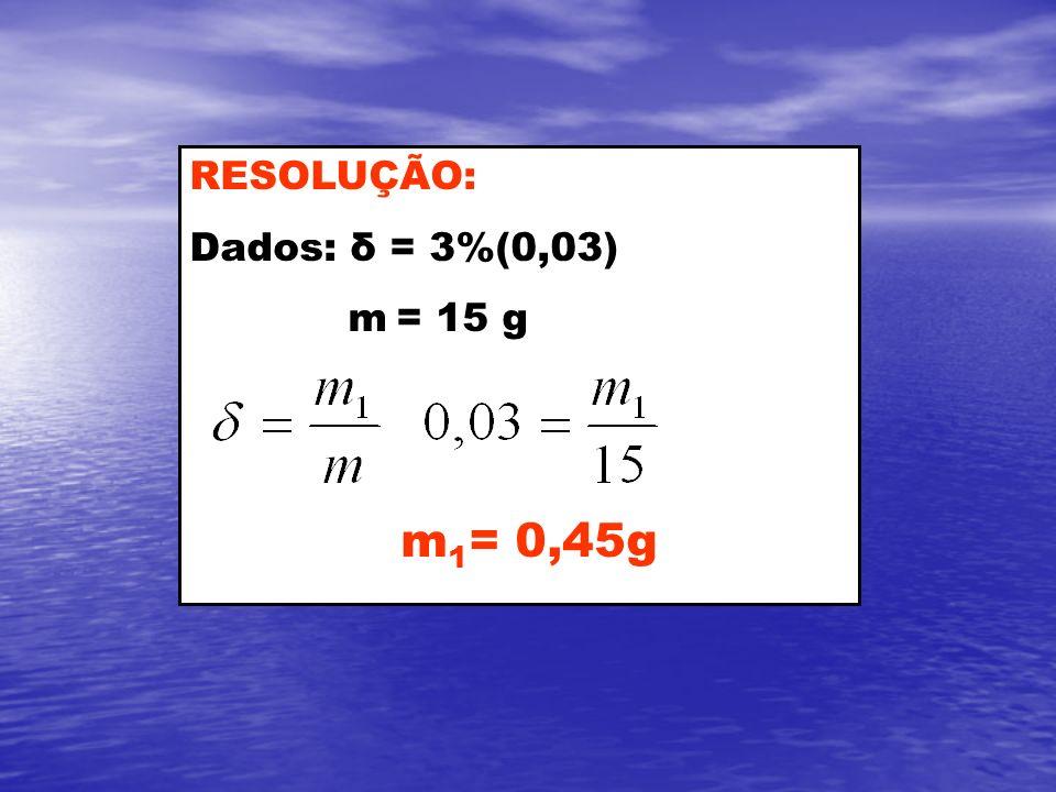 RESOLUÇÃO: Dados: δ = 3%(0,03) m = 15 g m1= 0,45g