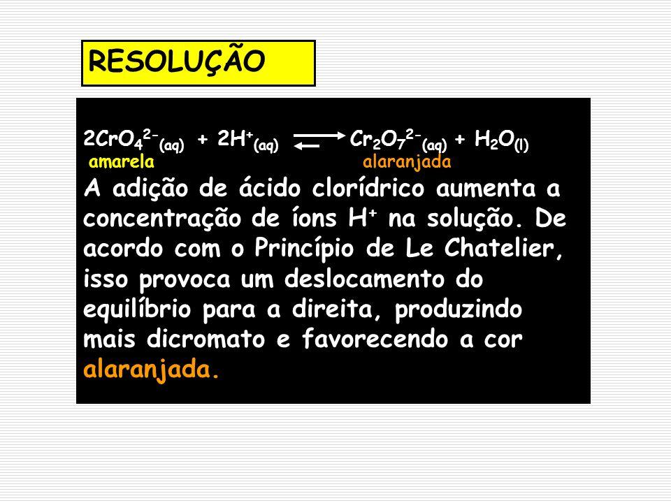 RESOLUÇÃO 2CrO42-(aq) + 2H+(aq) Cr2O72-(aq) + H2O(l) amarela alaranjada.