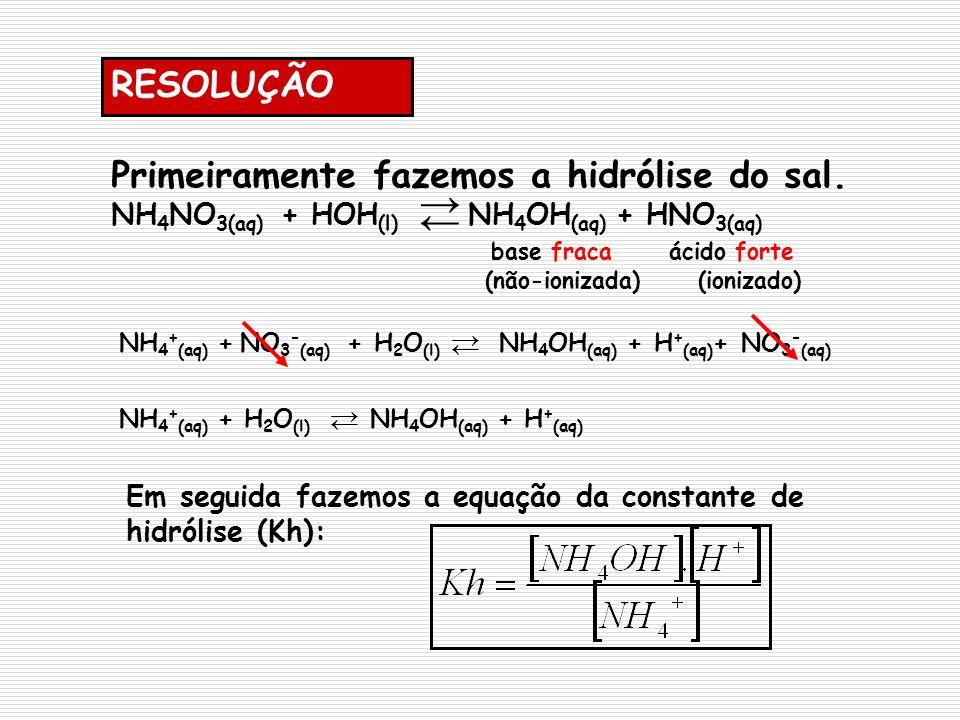 → ← RESOLUÇÃO Primeiramente fazemos a hidrólise do sal.