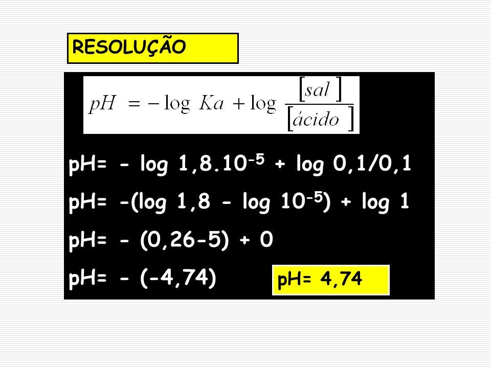 pH= - log 1,8.10-5 + log 0,1/0,1 pH= -(log 1,8 - log 10-5) + log 1