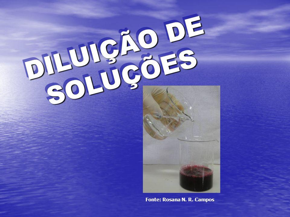 DILUIÇÃO DE SOLUÇÕES Fonte: Rosana N. R. Campos