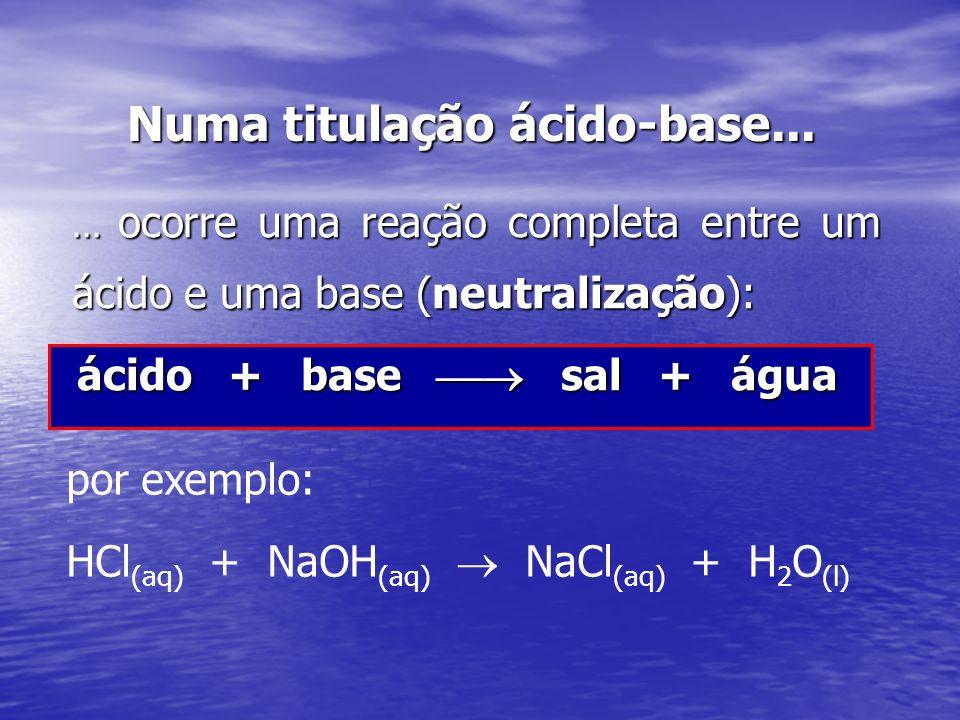 Numa titulação ácido-base...