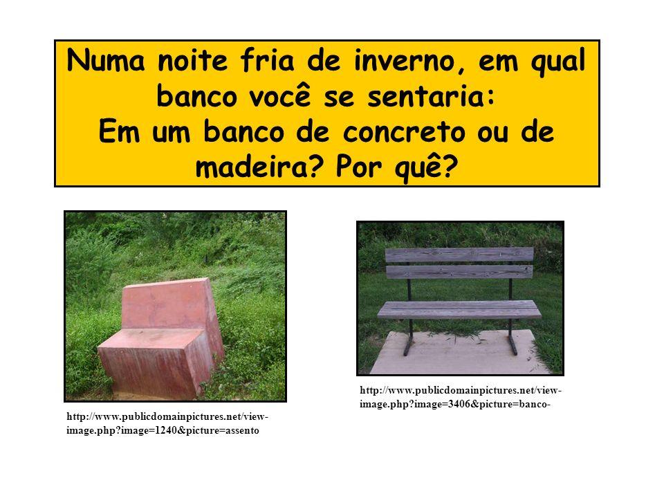 Numa noite fria de inverno, em qual banco você se sentaria: Em um banco de concreto ou de madeira Por quê
