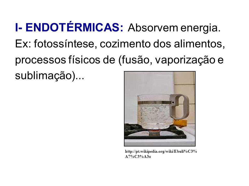I- ENDOTÉRMICAS: Absorvem energia.