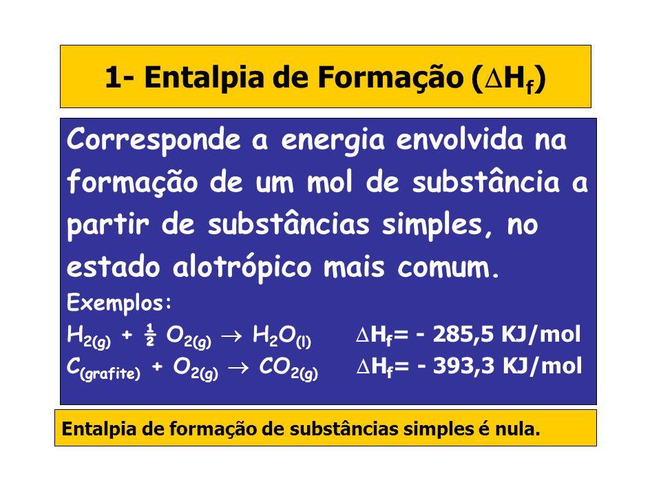 1- Entalpia de Formação (Hf)