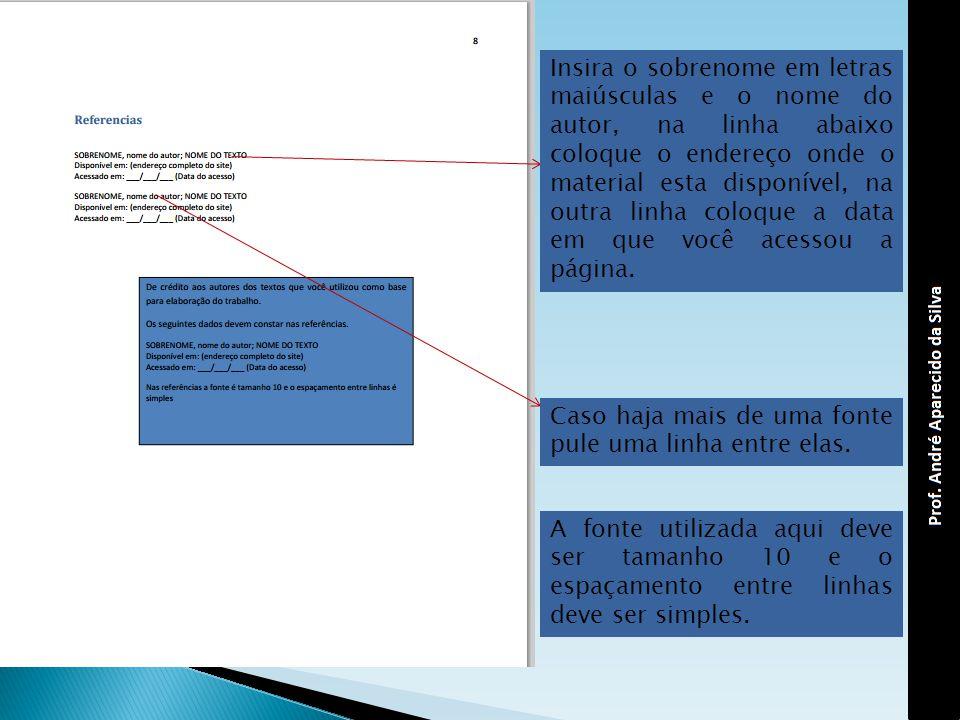 Insira o sobrenome em letras maiúsculas e o nome do autor, na linha abaixo coloque o endereço onde o material esta disponível, na outra linha coloque a data em que você acessou a página.