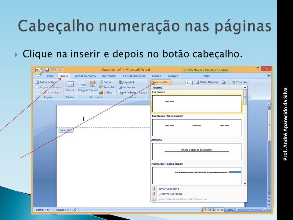 Cabeçalho numeração nas páginas