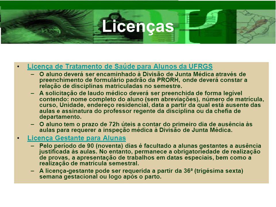 Licenças Licença de Tratamento de Saúde para Alunos da UFRGS