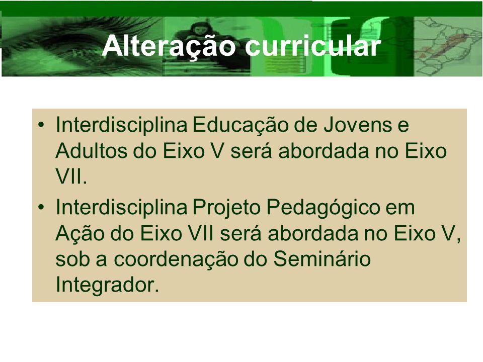 Alteração curricular Interdisciplina Educação de Jovens e Adultos do Eixo V será abordada no Eixo VII.