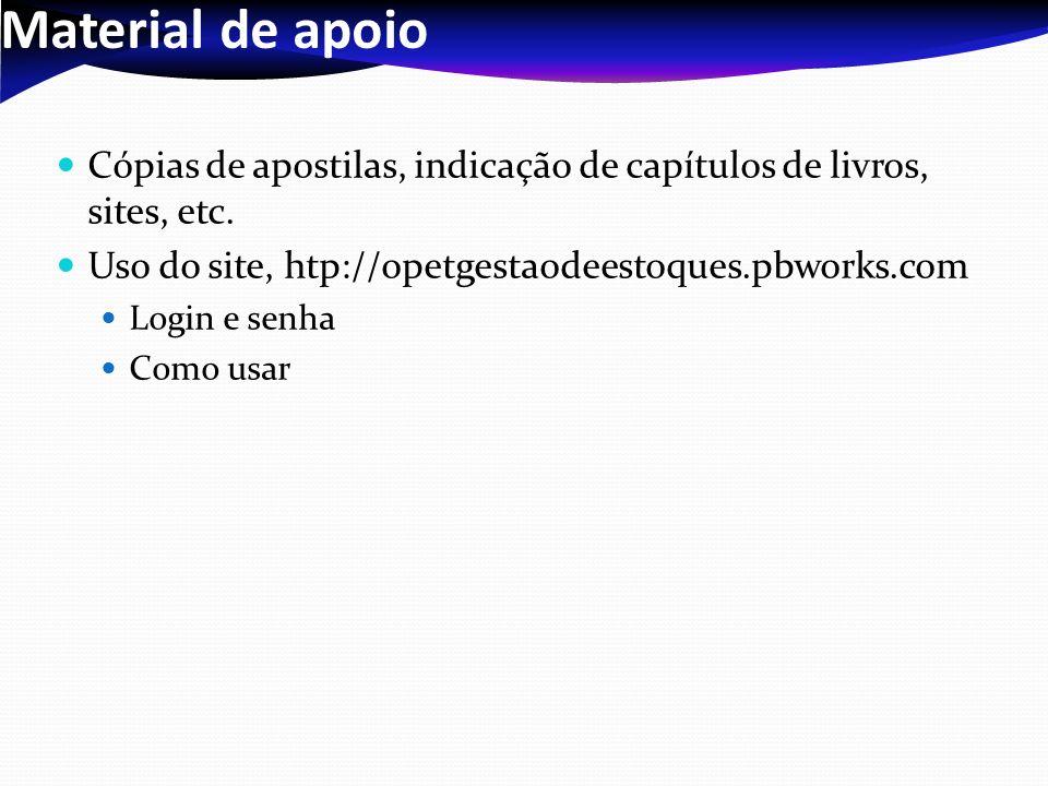 Material de apoioCópias de apostilas, indicação de capítulos de livros, sites, etc. Uso do site, htp://opetgestaodeestoques.pbworks.com.