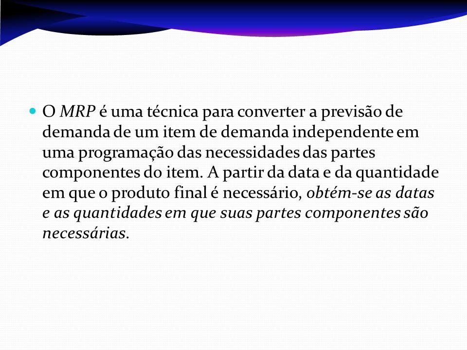 O MRP é uma técnica para converter a previsão de demanda de um item de demanda independente em uma programação das necessidades das partes componentes do item.