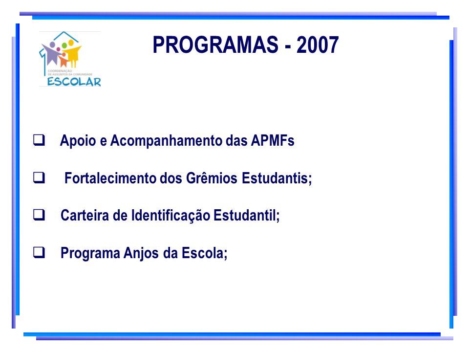 PROGRAMAS - 2007 Apoio e Acompanhamento das APMFs