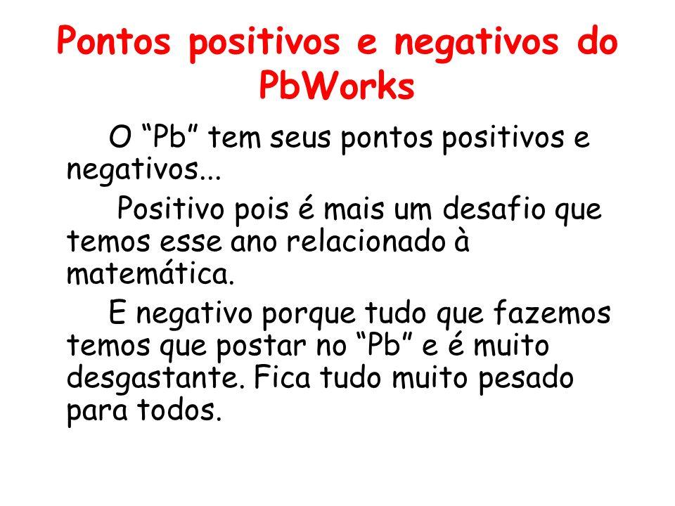 Pontos positivos e negativos do PbWorks