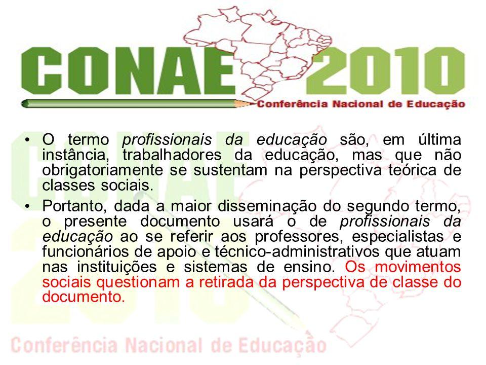 O termo profissionais da educação são, em última instância, trabalhadores da educação, mas que não obrigatoriamente se sustentam na perspectiva teórica de classes sociais.