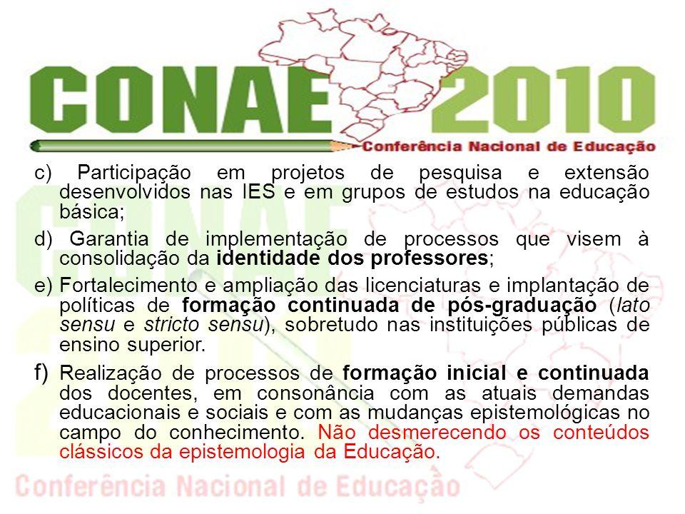 c) Participação em projetos de pesquisa e extensão desenvolvidos nas IES e em grupos de estudos na educação básica;
