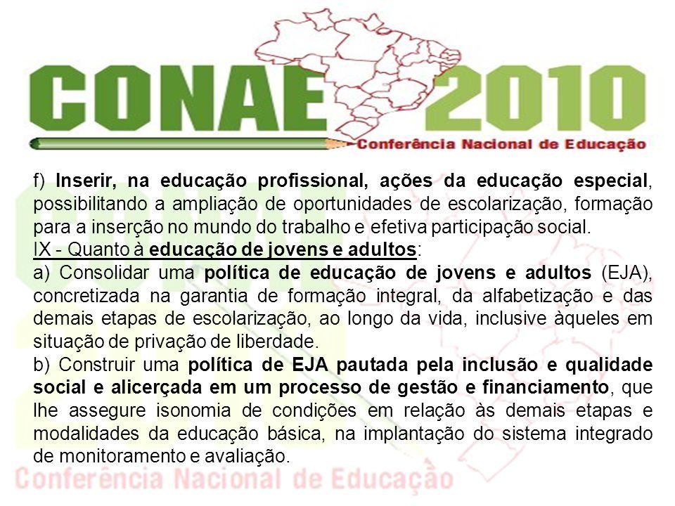 f) Inserir, na educação profissional, ações da educação especial, possibilitando a ampliação de oportunidades de escolarização, formação para a inserção no mundo do trabalho e efetiva participação social.