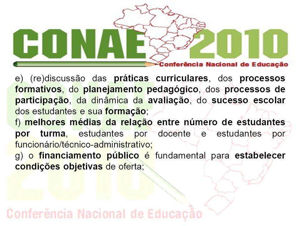 e) (re)discussão das práticas curriculares, dos processos formativos, do planejamento pedagógico, dos processos de participação, da dinâmica da avaliação, do sucesso escolar dos estudantes e sua formação;