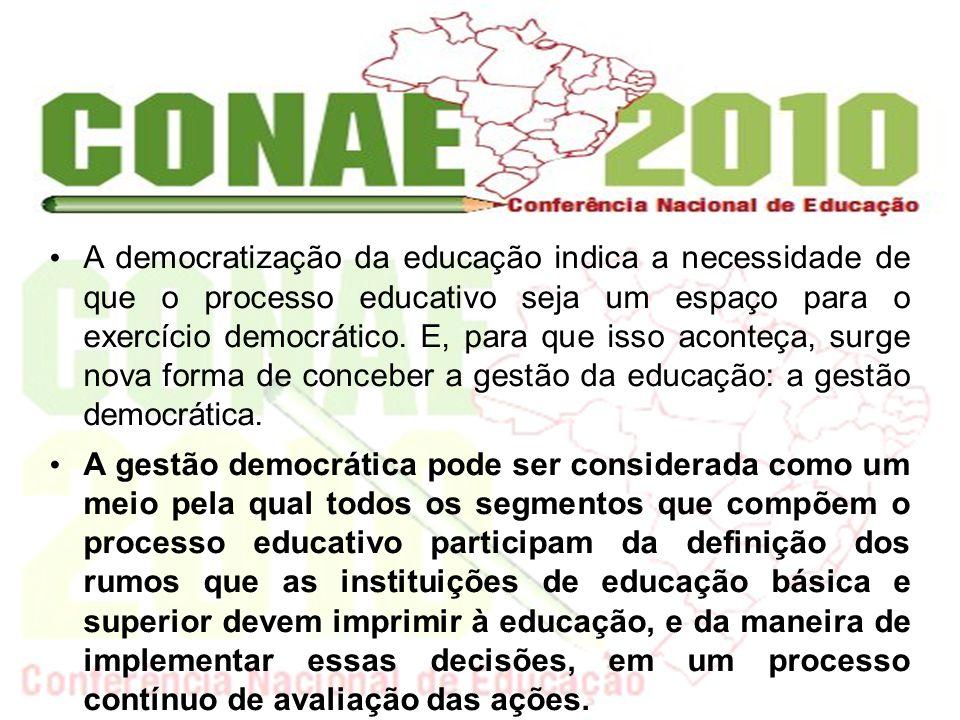A democratização da educação indica a necessidade de que o processo educativo seja um espaço para o exercício democrático. E, para que isso aconteça, surge nova forma de conceber a gestão da educação: a gestão democrática.