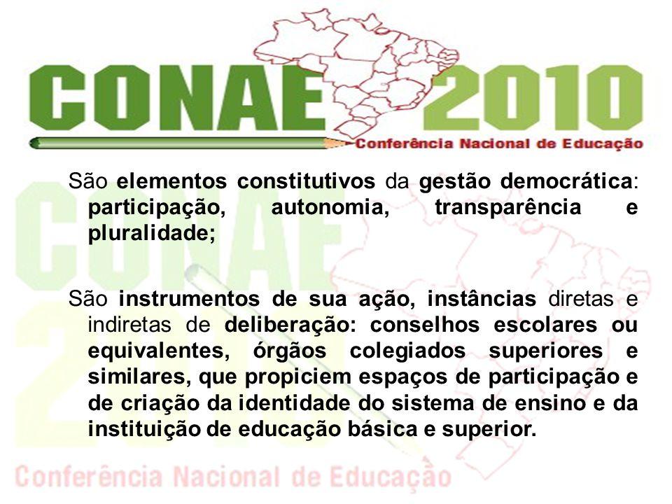 São elementos constitutivos da gestão democrática: participação, autonomia, transparência e pluralidade;