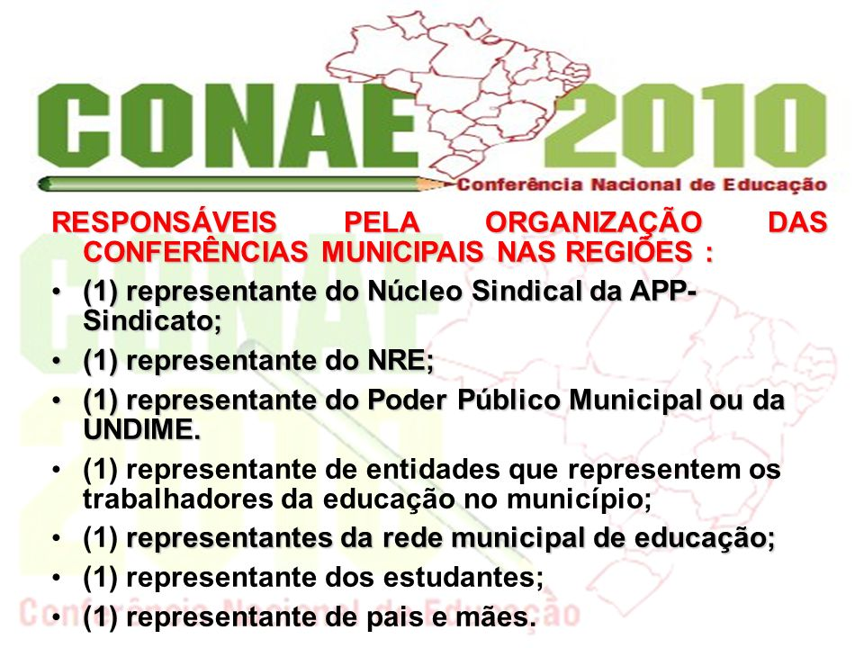RESPONSÁVEIS PELA ORGANIZAÇÃO DAS CONFERÊNCIAS MUNICIPAIS NAS REGIÕES :