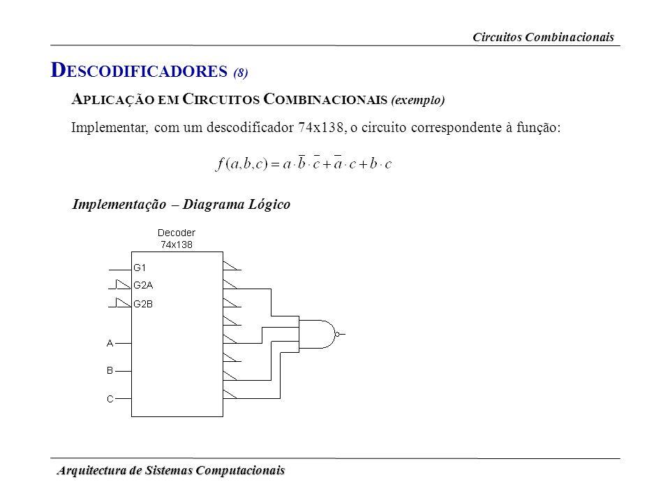 DESCODIFICADORES (8) APLICAÇÃO EM CIRCUITOS COMBINACIONAIS (exemplo)