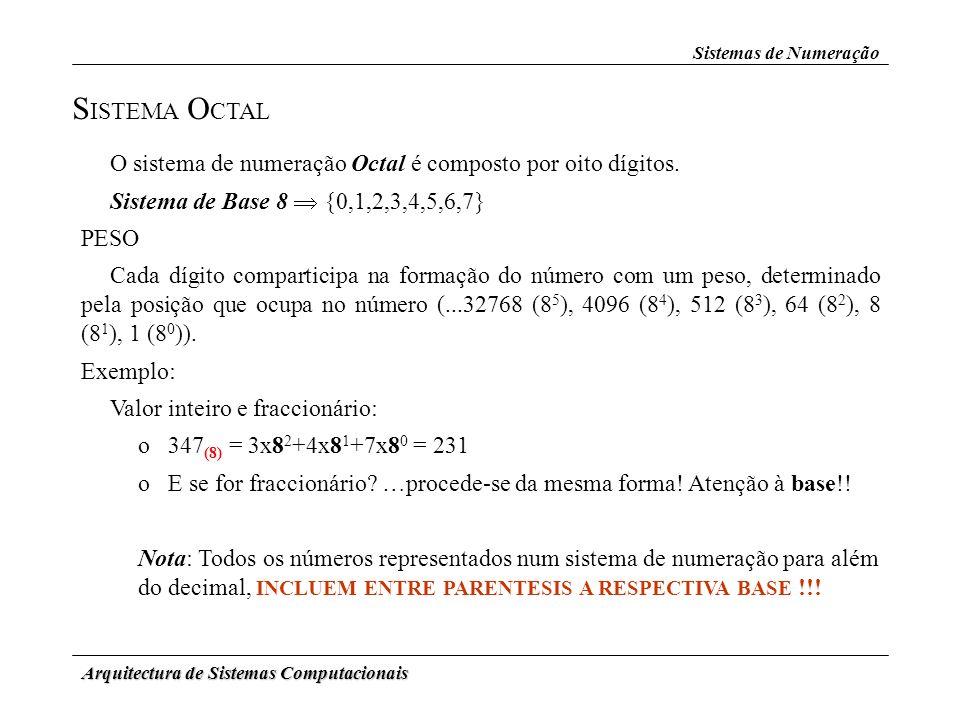 Sistemas de Numeração SISTEMA OCTAL. O sistema de numeração Octal é composto por oito dígitos. Sistema de Base 8  {0,1,2,3,4,5,6,7}