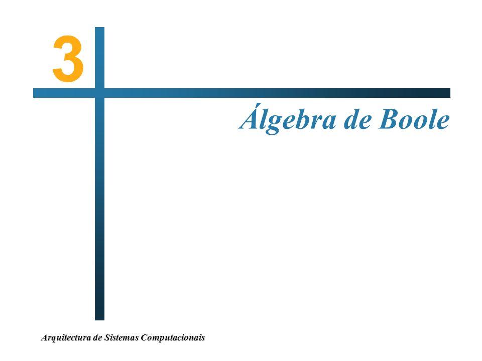 3 Álgebra de Boole Arquitectura de Sistemas Computacionais
