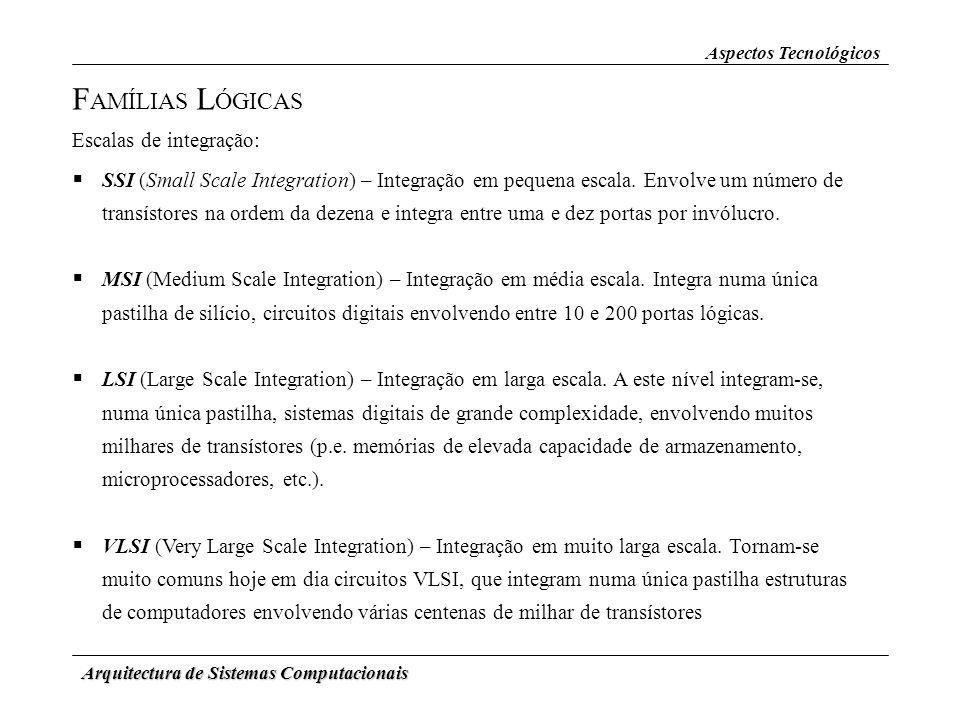 FAMÍLIAS LÓGICAS Escalas de integração: