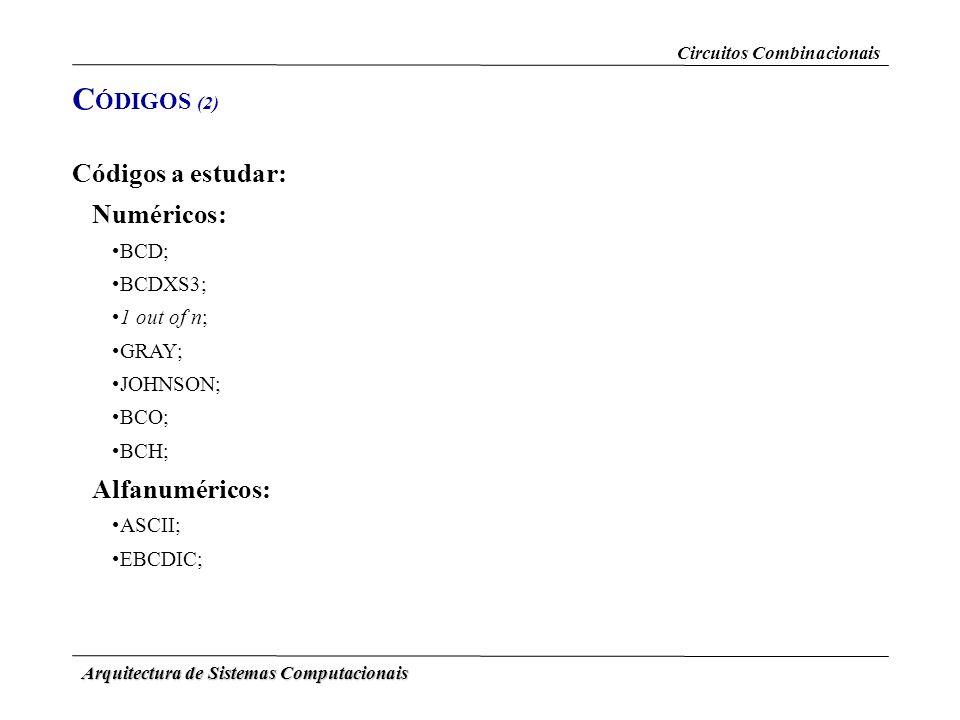 CÓDIGOS (2) Códigos a estudar: Alfanuméricos: Numéricos: BCD; BCDXS3;