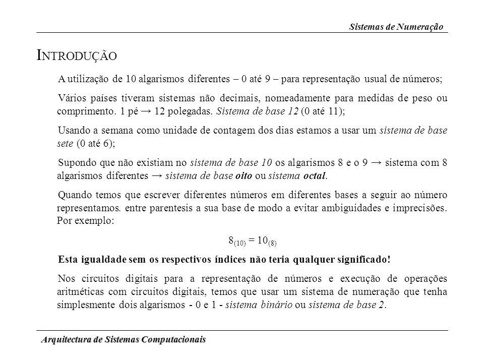 Sistemas de Numeração INTRODUÇÃO. A utilização de 10 algarismos diferentes – 0 até 9 – para representação usual de números;