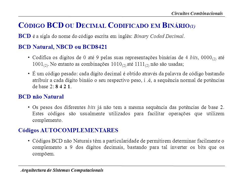 CÓDIGO BCD OU DECIMAL CODIFICADO EM BINÁRIO(1)
